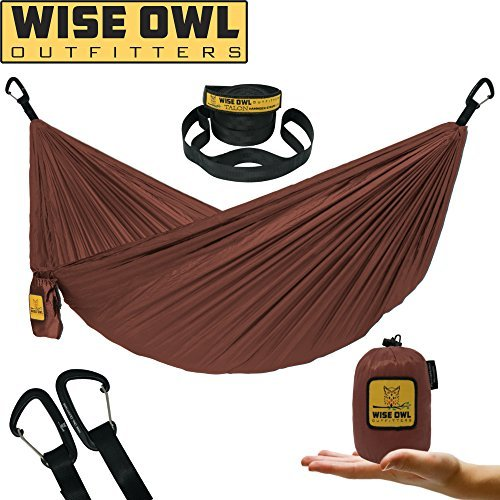 Wise Owl Outfitters Ultralight Camping Hammock with Tree Straps - Feather Light Lightweight Compact Durable Ripstop Parachute Nylon Hammocks - Outdoor Travel Backpacking Hiking – Rust