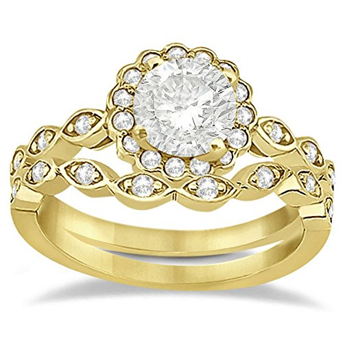 Floral Diamond Halo Marquise Bridal Set Engagement Ring and Wedding Band 14k Yellow Gold (0.36ct) ()