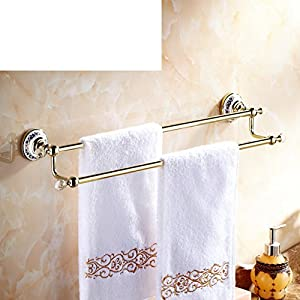 black Towel rack/Brass double Towel Bar/Bathroom accessories/European style towel rail/Bathroom Towel Bar-D 80%OFF