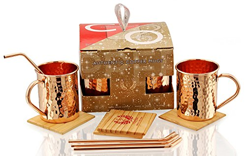 Copper Moscow Mule Mugs - Set of 4 - Highest Quality Gift Set – 100% HANDCRAFTED - Food Safe Pure Solid Copper Mugs 16 oz Hammered Moscow Mule Mug with BONUS:Copper Straws and Coasters by Copper Cure by Copper Cure (Image #3)