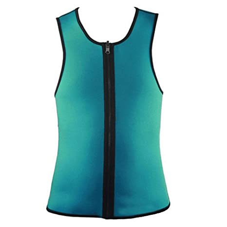 cb1ea16d0479f VORCOOL Men Waist Trainer Vest Zipper Sauna Tank Top Neoprene Body Shaper  Slimming Vest Sweat Suit for Weight Loss (Green L)  Amazon.fr  Sports et  Loisirs