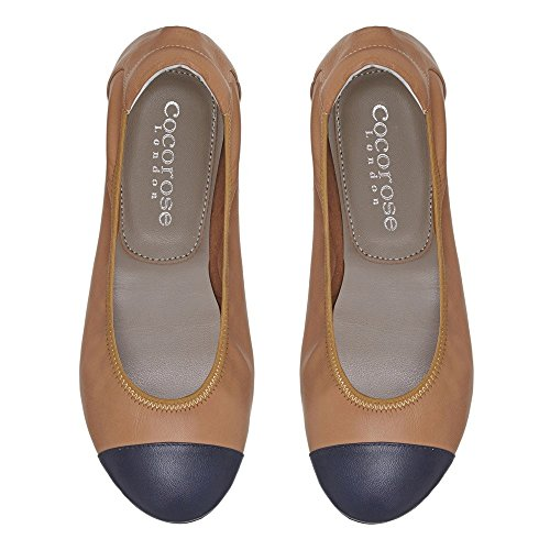 Cuero amp; Beige Plegables Harrow Mujer Ballerinas Zapatos Azul Cocorose qZHt0