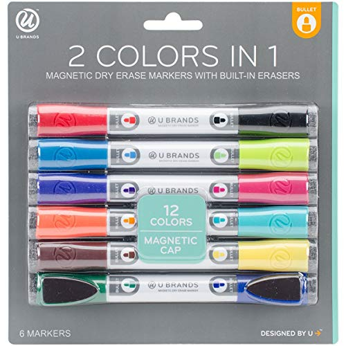 U Brands Low Odor Magnetic Double Ended Dry Erase Markers With Erasers, Bullet Tip, Assorted Colors, 6-Count by U Brands (Image #1)