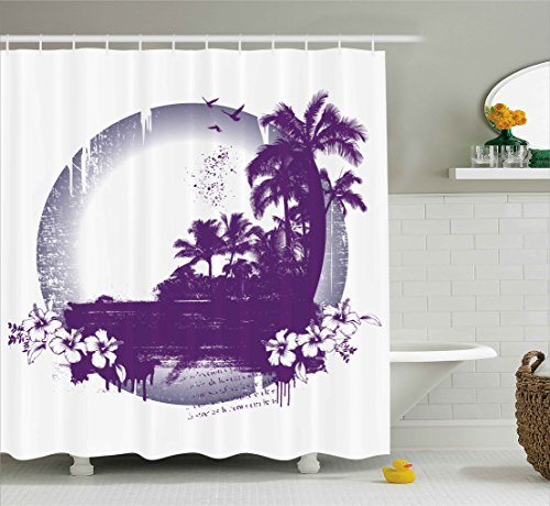 Ambesonne Grunge Decor Shower Curtain by, Retro Style Hawaiian Beach Scene with Murky Effects Hibiscus Tropical Graphic, Fabric Bathroom Decor Set with Hooks, 70 Inches, Plum Grey ()