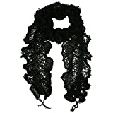 Luxury Divas Black Ruffled Lace Lightweight Scarf