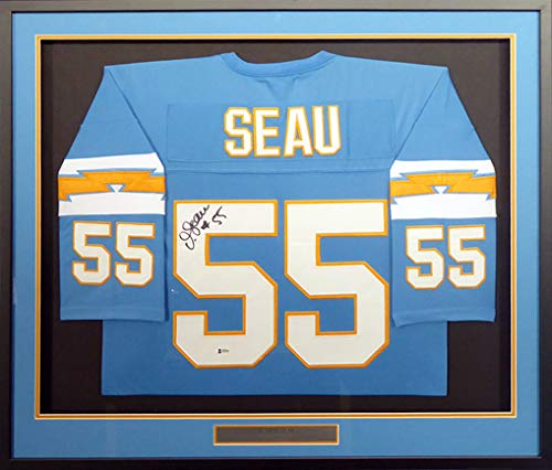 San Diego Chargers Junior Seau Autographed Signed Memorabilia Framed Powder Blue Jersey - Beckett Authentic ()