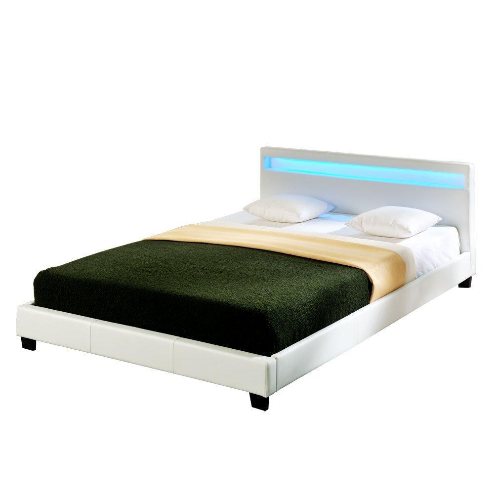 Corium LED Polsterbett (Paris) (weiss)(140x200cm) Modernes Bett Kunst