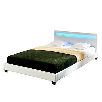 Corium® Lit capitonné à LED de (Paris) (Blanc)(140x200cm) lit ...