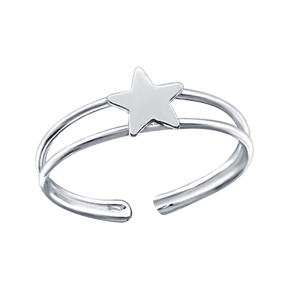 Womens Gorgeous Adjustable Star Toe Finger Ring .925 Sterling Silver Plated Midi Ring tusakha