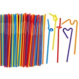 200 Count Bulk Pack Reusable Flexible Extra Long Plastic Straws - Colorful Fun Drinking Party Straws for Birthdays, Parties, Celebrations