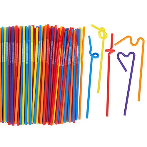 Juvale 200 Count Bendy Straws - Bulk Pack Party Straws, Flexible Extra Long Plastic Straws for Birthdays, Parties, Celebrations - 11 inches from Juvale