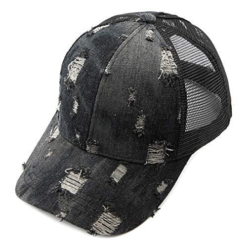 C.C Hatsandscarf Ponytail caps Messy Buns Trucker Plain Baseball Cap (BT-8) (Vintage Black Denim) ()