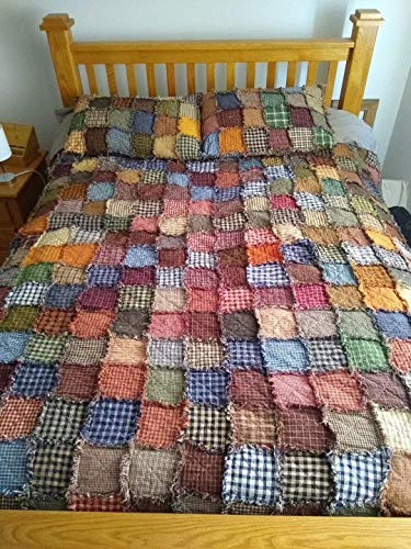 Throw Size Patchwork Homespun Quilt, Made to Order, Assorted Primitive colors. Shams NOT included