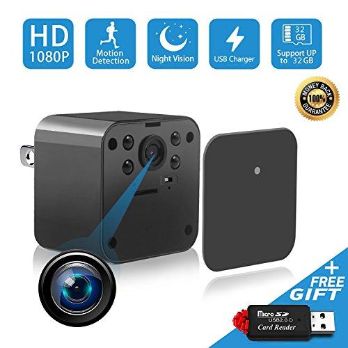 1080P Spy Camera, Hidden Camera, Mini Camera, USB Charger Camera, Night Vision Camera, Hidden Nanny Cam Motion Detection Loop Recording Home Office Indoor Pet Surveillance (Black)