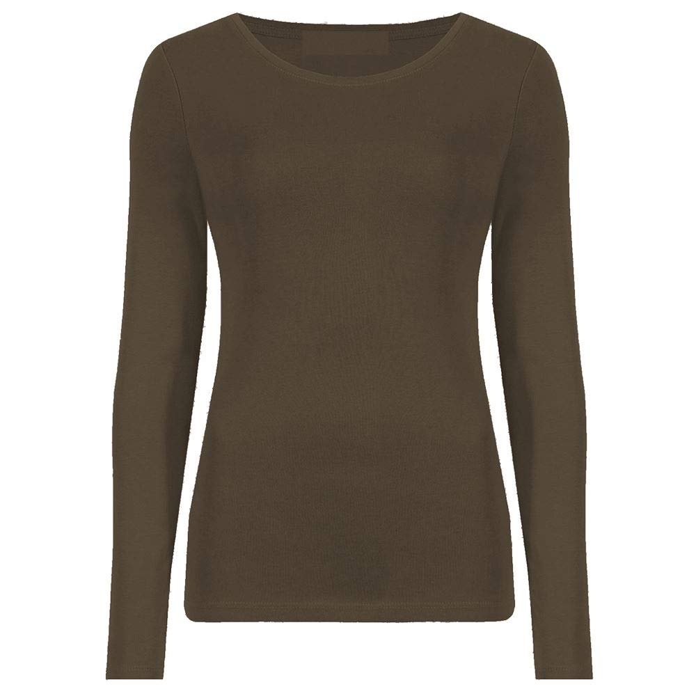 Ladies Plain Stretch Fit Long Sleeve Women's T-Shirt Round Neck Basic Top UK Size 8-26