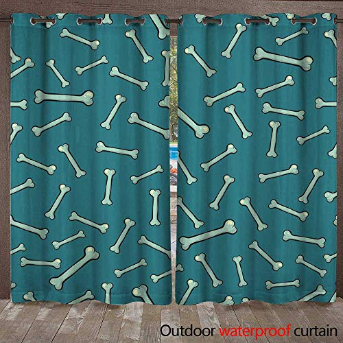 RenteriaDecor Outdoor Balcony Privacy Curtain Vector Outline Bones Seamless Pattern for Halloween W72 x L84 -