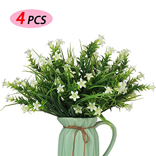 MIXROSE Small Artificial Fake Faux White Campanula Flowers Arrangement Bouqet for Home Kitchen Counter Table Desktop Office Décor (4 Bunches)