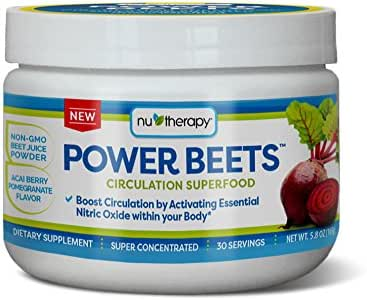 Nu-Therapy Power Beets, Super Concentrated Circulation Superfood, Dietary Supplement – Delicious Acai Berry Pomegranate Flavor – Non-GMO Beet Juice Powder, 30 Servings