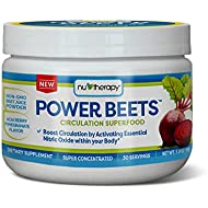 Nu-Therapy Power Beets Super Concentrated Circulation Superfood Dietary Supplement – Delicious Acai Berry Pomegranate Flavor – Non-GMO Beet Root Powder, 30 Servings