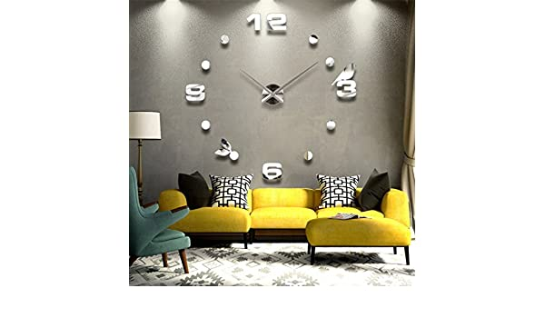 Amazon.com: Contemporary Luxury Frameless Large Size 3D Mirror Surface Creative Modern Room Home Decoration Art Clock DIY Awesome Self Design Wall Clock ...