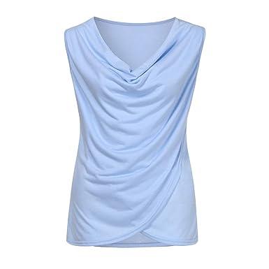 077c4050135dde Sunhusing Summer Ladies Cozy Cotton Blend Blouse Sleeveless Vest Solid  Color Plus Tank Top Shirt Blue