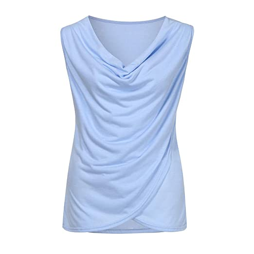 dcad97f5b3cd2 Women Summer Sleeveless Solid Vest Knitted Blanket Cami Casual Cotton  Blouse Top Tank Cowl Neck Vest
