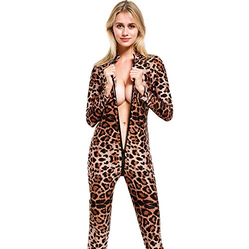 Alixyz Women Sexy Bodysuit Leopard Print Long Sleeve Zip Jumpsuit Open Crotch Lingerie (M, Brown)