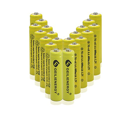 GEILIENERGY AA Size NiCd AA 600mAh 1.2V Rechargeable Batteries for Solar Lamp Solar Light(20 PCS) ()