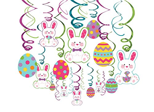 Easter Multicolored Foil Paper Swirls, Mega Value Pack, 30 Ct. | Party Decoration Easter Cut Out Decorations