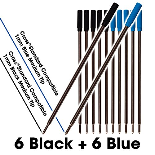 (Jaymo 6 Black and 6 Blue = 12 Cross Compatible Ballpoint Pen Refills. Smooth Writing German Ink and 1mm Medium Tip. #8511 and #8513)