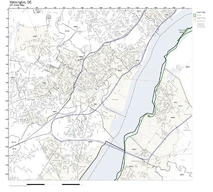 Amazon Com Zip Code Wall Map Of Wilmington De Zip Code Map