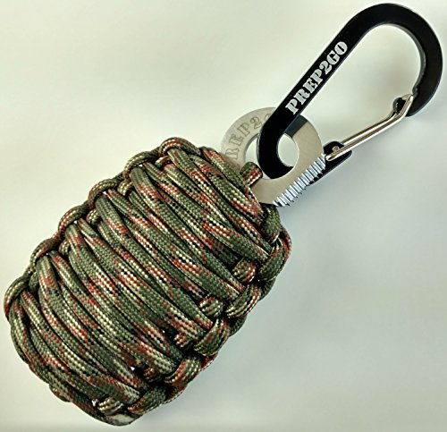 Prep2Go Paracord Grenade (Camo) 550, Ultimate Survival Fishing Kit:25 Life-Saving Wilderness Prepper Tools. Feel safe! Your child can now make fire, food, shelter in a disaster or when lost outdoors!