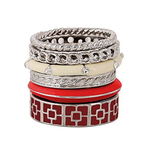 D EXCEED Ladies Gift Idea Fashion Silver Twisted Swirl Enamel Stackable Ring Set for Women