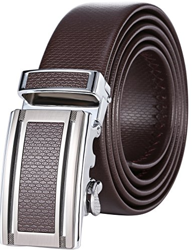Marino Men's Ultra Soft Leather Ratchet Dress Belt with Automatic Buckle, Enclosed in an Elegant Gift Box - Gunblack Silver Leather Buckle W/ Brown Leather - Custom: Up to 44