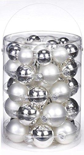 wei/ß matt porzellanwei/ß 28 St/ück//Dose,silber glanz Inge-glas 19000D001 Kugel 30 mm