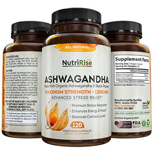 Ashwagandha 1300mg Made with Organic Ashwagandha Root Powder & Black Pepper Extract – 120 Capsules. 100% Pure Ashwagandha Supplement for Stress Relief, Anti-Anxiety & Adrenal, Mood & Thyroid Support