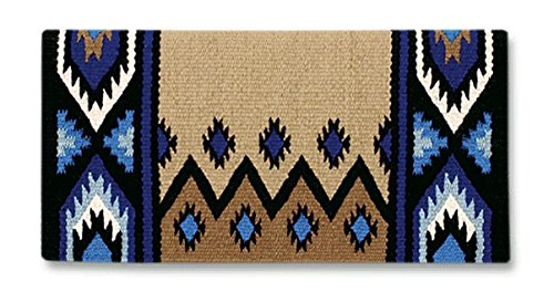 Mayatex New Phoenix Saddle Blanket, Black/Sand/Periwinkle/Fawn/Cream, 38 x - Pad Blanket Horse Saddle