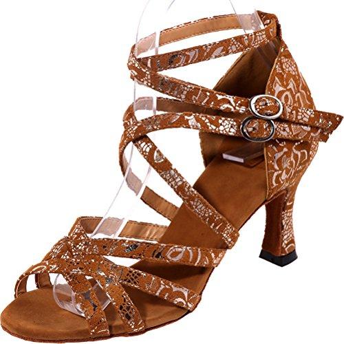 CFP Ladies Open Toe Body Straps Kitten Heel Comfort Latin Tango Cha-Cha Swing Ballroom Party Wedding Soft Sudue Sole Lint Dance Shoes Brown XKoeeSw9S