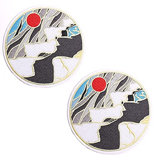 AXEN Ice Mountain Under The Sun Patches Embroidered Iron-on Badge Patches, Iron On Sew On Emblem Patches DIY Accessories, Pack of 2