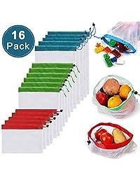 LETTURE Bolsas Reutilizables Compra, 16 Unidades Ecológicas Bolsa de Malla, para Almacenamiento Frutas/Verduras, Juguetes, Lavable y Protección del Medio Ambiente, 3 Diversos Tamaños