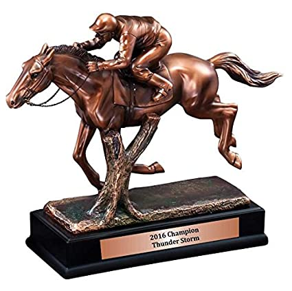 Race Horse Statue With Jockey Trophy 95quot X 115 Click To Customize