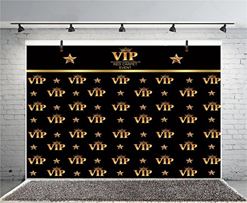 Leyiyi 7x5ft Photography Background VIP Red Carpet Event Backdrop Happy Birthday Summer Party Crown Golden Stars Music Banquet Bridal Shower Baby Shower Photo Portrait Vinyl Studio Video Prop]()