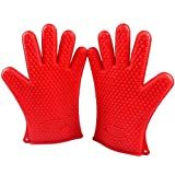 Barbecue Pit Mitt BBQ Gloves Extreme Heat Resistant - Silicone Oven Mitts Pair Waterproof,Outdoor Kitchen Ovens