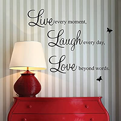 """HANMERO """"Live Every Moment,laugh Every Day, Love Beyond Words."""" with 2x Butterfly Wall Quote Art Sticker Decal for Home Bedroom Decor Corp Office Wall Saying Mural Wallpaper Birthday Gift for Girl"""