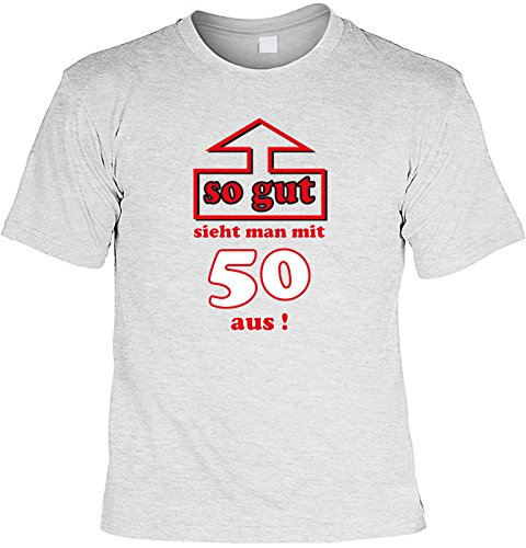 T-Shirt mit Urkunde - So gut sieht man mit 50 aus - Lustiges Sprüche Shirt als Geschenk zum fünfzigsten Geburtstag - NEU mit gratis Zertifikat!