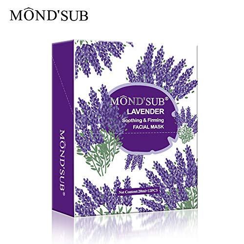 [12 Sheet]Moisturizing Facial Mask Sheet|Smoothing& Lifting Your Face|Nourishing&Hydrating Face Mask|Lavender Flowers Collagen Essence |Best Moisturizer for All Skin Type By MOND'SUB (Lavender Facial Mask)