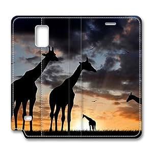 Brain114 Fashion Style Case Design Flip Folio PU Leather Cover Standup Cover Case with Cute Giraffe 5 Pattern Skin for Samsung Galaxy Note 4