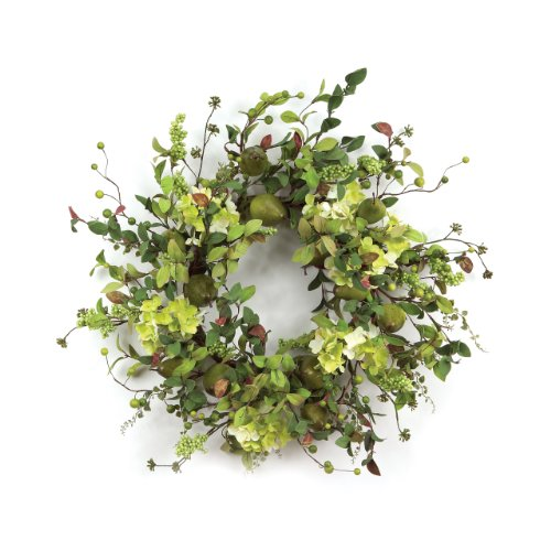 Melrose International Pear Hydrangea and Berry Polyester Wreath (Green Wreath Hydrangea)