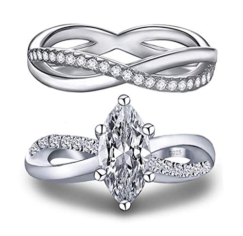 (101 Facets Realistic Marquise Cut Simulated Diamond Band Set 925 Silver 1.5 Carat Infinity Twist Unique Design )
