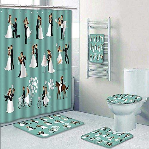PRUNUSHOME 5-piece Bathroom Set-just married newlyweds bride and groom set couple celebrat marriage danc kiss Prints decorate the bathroom,1-Shower Curtain,3-Mats,1-Bath towel(Large) -